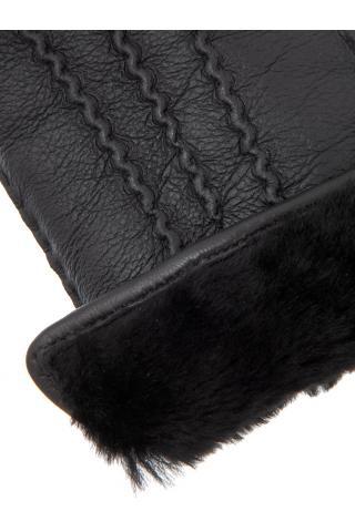 """Перчатки из овчины """"Целые напалан"""" чёрные"""