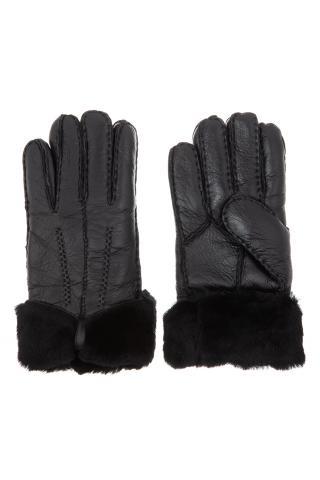 """Перчатки из овчины женские """"С бантом"""" чёрные"""