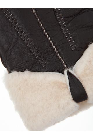 """Перчатки из овчины женские """"С бантом"""" темно-коричневые"""