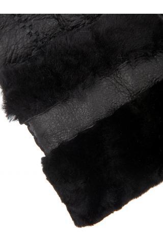 """Перчатки из овчины женские """"С манжетом"""" чёрные"""