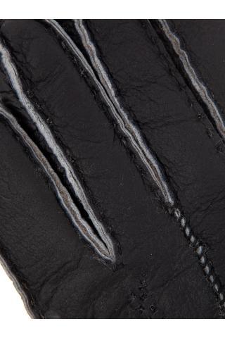 """Перчатки из овчины женские """"С манжетом"""" тёмно-серые"""