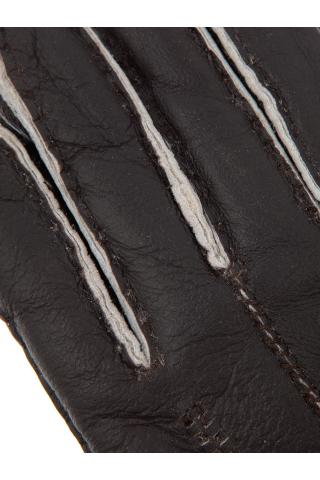 """Перчатки из овчины женские """"С манжетом"""" коричневые с белым"""
