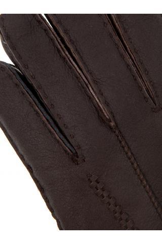 """Перчатки из овчины женские """"С манжетом"""" темно-коричневые"""