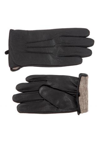 Перчатки из кожи мужские черные, имитация под кожу оленя