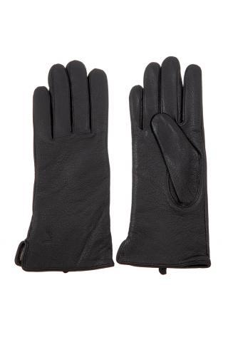 Перчатки из кожи женские черные, имитация под кожу оленя