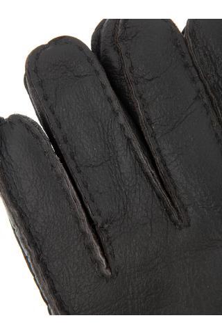 """Перчатки из овчины мужские """"С манжетом"""" тёмно - серые"""