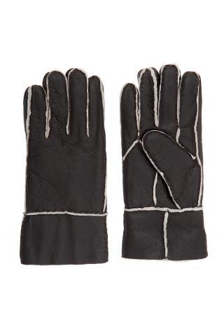 """Перчатки из овчины  """"с манжетом"""" тёмно-коричневые, белый волос"""