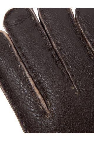 """Перчатки из овчины мужские """"С манжетом"""" тёмно-коричневые"""