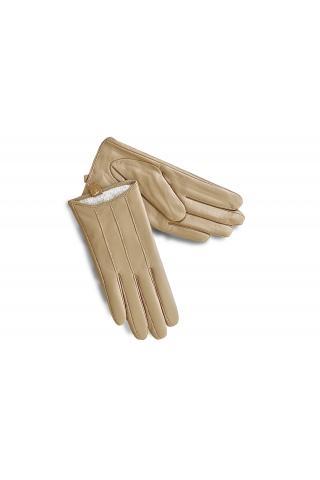 Перчатки кожаные женские Л 18-01 бежевые