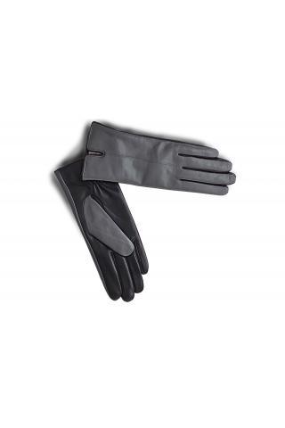 """Перчатки кожаные женские """"2 Верс"""" серо-чёрные"""