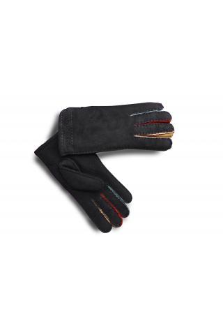 """Перчатки из овчины женские """"Цветные пальцы"""" чёрные"""