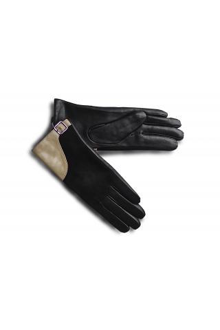 """Перчатки кожаные женские """"Л 17-40"""" бежево-чёрные"""