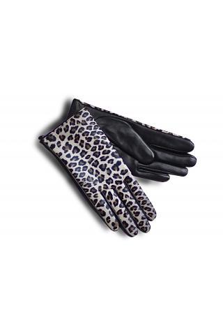 """Перчатки кожаные женские """"Л 18-30"""" леопардовые"""