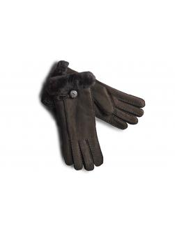"""Перчатки из овчины женские """"Целые с пуговицей"""" тёмно - коричневые"""
