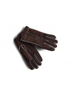 """Перчатки из овчины женские """"Целые пунктир"""" тёмно - коричневые"""