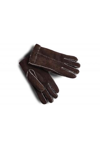 """Перчатки из овчины """"Целые с пуговицей"""" тёмно - коричневые"""