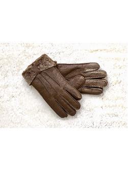 """Перчатки из овчины женские """"С бантом"""" коричневые"""