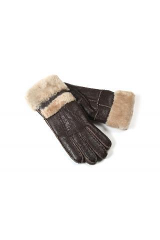 """Перчатки из овчины женские """"С манжетом"""" коричневые"""