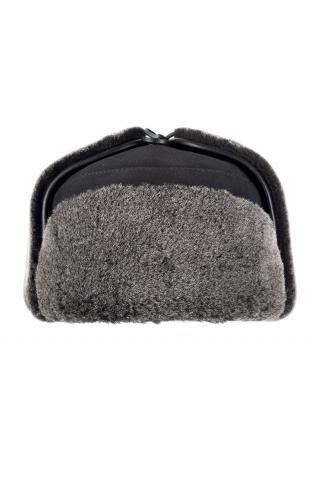 Ушанка из овчины м.10 черная брисса