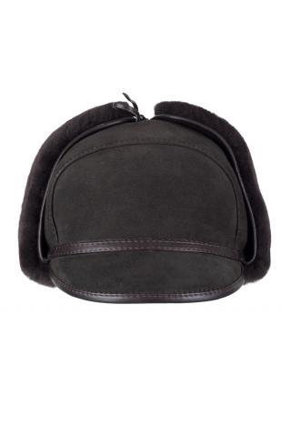Шапка-ушанка с козырьком м.11 темно-коричневая