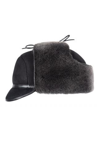 Шапка-ушанка с козырьком м.11 черная брисса