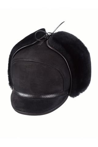 Шапка-ушанка с козырьком м.11 черная