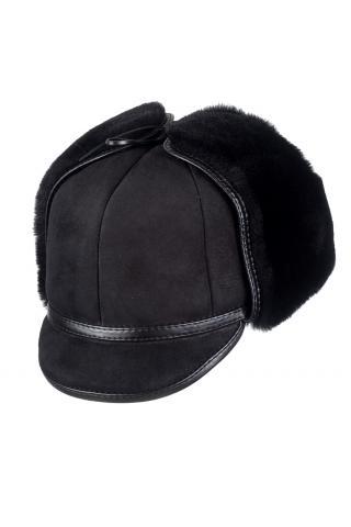 Шапка-ушанка с козырьком м.121 темно-коричневая