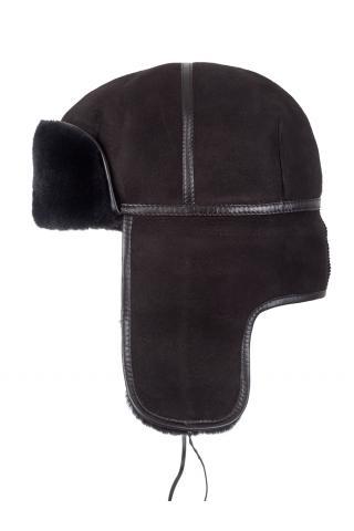Ушанка из овчины м.980 тёмно-коричневая