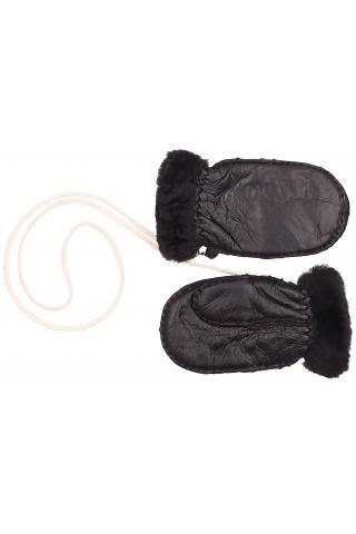 Варежки из овчины детские чёрные
