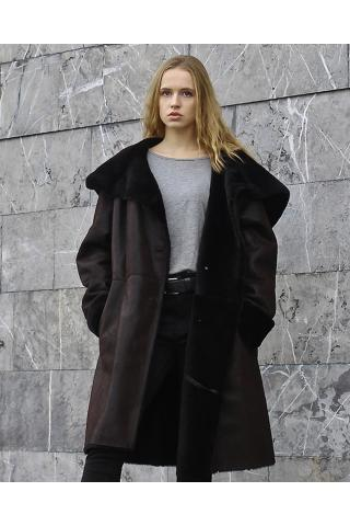 Женская дубленка А-15410 темно-коричневая