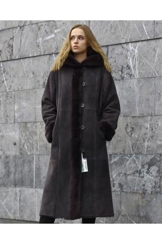 Женская дубленка А-1513 темно-серая
