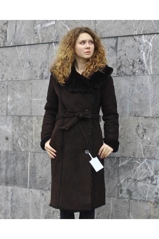 Женская дубленка 6212 темно-коричневая