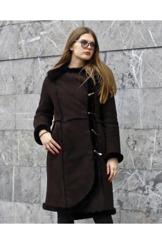 Женская дубленка 6312 темно-коричневая