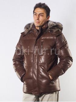 Кожаный пуховик 61150 коричневый