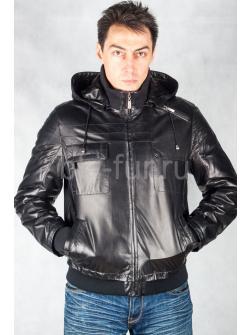 Кожаная куртка 81038 с капюшоном