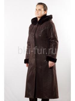 Женская дублёнка Асимметрия 115 темно-коричневая