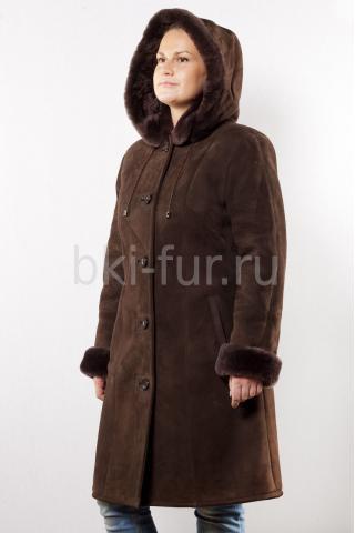 Женская дублёнка Асимметрия 95 темно-коричневая