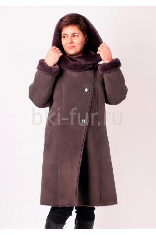 Женская дубленка А-15410 темно- серая