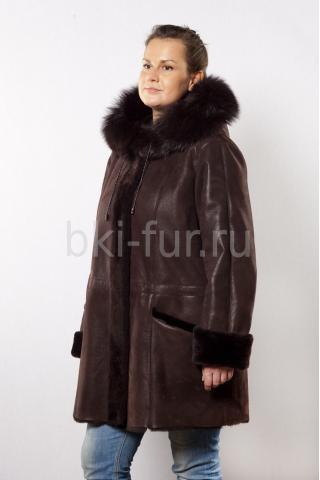 Женская дублёнка А1082К темно-коричневая