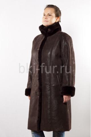 Женская дубленка СК-9512 темно-коричневый